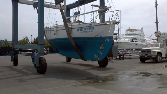 Boat coming out of water for work
